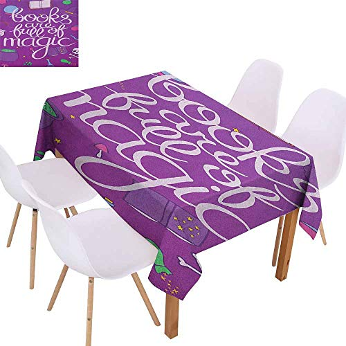 Fabric Dust-Proof Table Cover Book Books are Full of Magic Wording Printed on Purple Background with Objects of a Witch Table Decoration W52 xL72 Multicolor]()