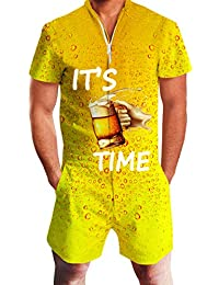 fb273d56cd6b5 Mens 2019 New Designed Rompers 3D Fashion Print Short Sleeve Zip One Piece  Summer Jumpsuit with