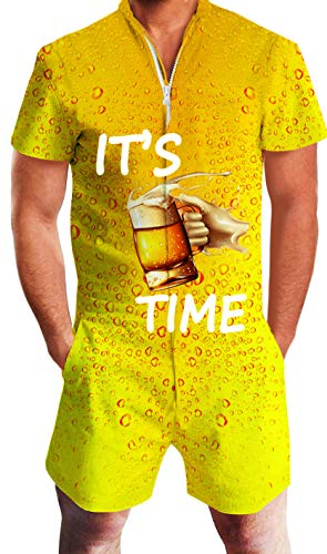 Goodstoworld Men's Jumpsuit Adult Yellow Beer Cheers Rompers Youth Young Man Boy Rave Zip Romphims Male Fashion Shirt Bro Pant Short T Shirt X-Large