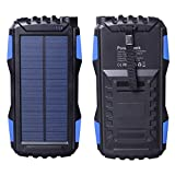 Friengood Solar Charger, Portable 25000mAh Solar Power Bank, Waterproof Solar External Battery Pack with Dual USB Ports and Flashlight for iPhone, iPad, Samsung, Android Phones and More (Blue)