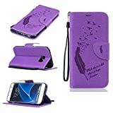 BoxTii Samsung Galaxy S7 Edge Case + Free Tempered Glass Screen Protector, Leather Case for Galaxy S7 Edge, Leather Wallet with Stand for Galaxy S7 Edge (#1 Purple)