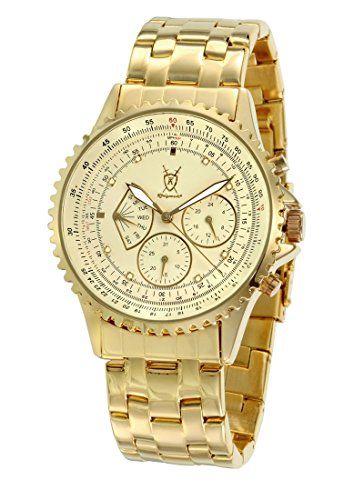 (Konigswerk Men's Gold Tone Watch Multifunction Day Date IP Plated Bracelet and Large Dial)