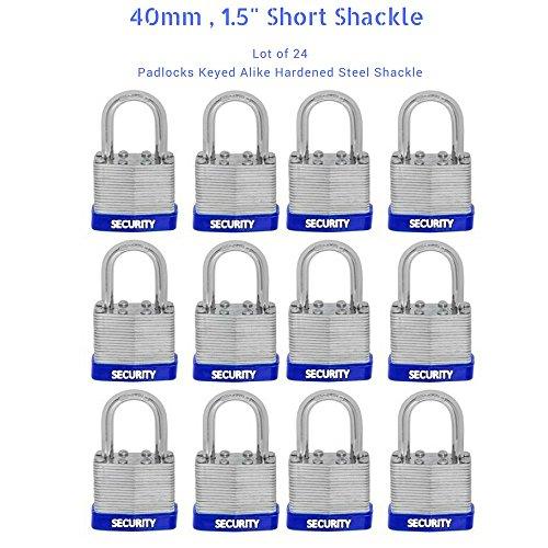 24 PC PIECE SET 40MM KEY ALIKE SHORT SHACKLE PADLOCK KEYEDALIKE COMMERCIAL GRADE PAD LOCKS PADLOCK KEYED THE SAME A LIKE (Shackle Short)