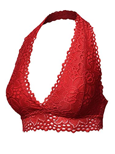 Halter Lace Red - Sexy Lace Halter Neck Bralette Red M