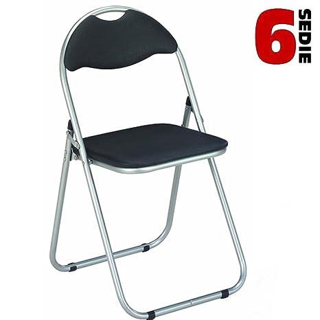 Bakaji - Juego de 6 sillas plegables con asiento y respaldo ...