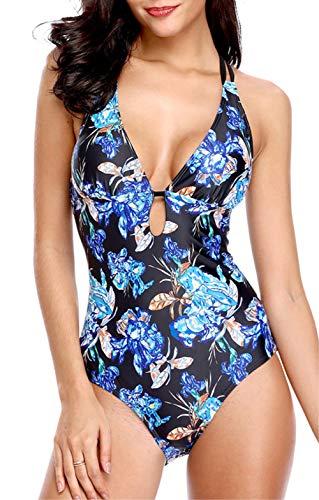 Piece Swimsuit Print One - beautyin Womens Swimsuit One Piece Print Strappy Bathing Suits Ladies Swimwear S
