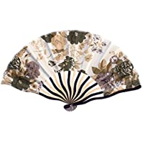 Peony Fabric Cloth Wood Frame Hand Fan Beige Ivory Indigo Blue