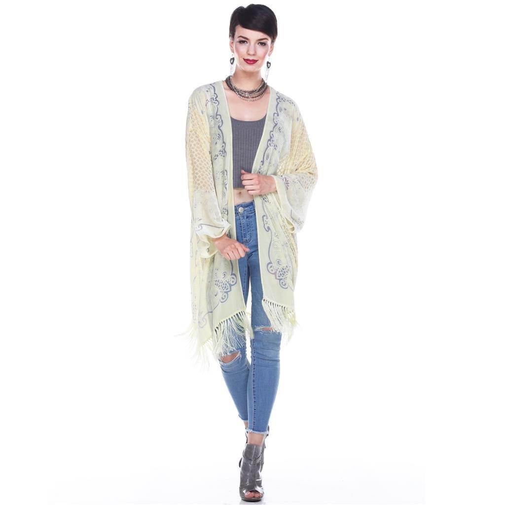 Aris A Women 100% Silk Velvet Mixed Filigree Print Kimono