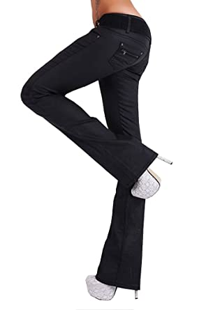 Gürtel Damen Bootcut Schlag Jeans Hose Push Up Denim Schwarz oder Weiß incl