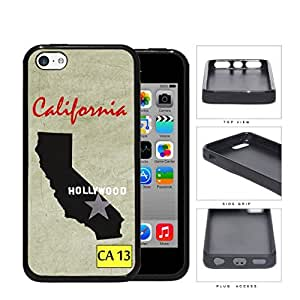 California State Tag License Plate with State Outline CA 13 Grunge Background Hard Rubber TPU Phone Case Cover iPhone 5c wangjiang maoyi