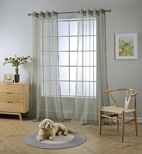 """Miuco 2 Panels Grommet Textured Solid Sheer Curtains 84 Inches Long for Living Room (2 x 54 Wide x 84"""" Long) Sage"""