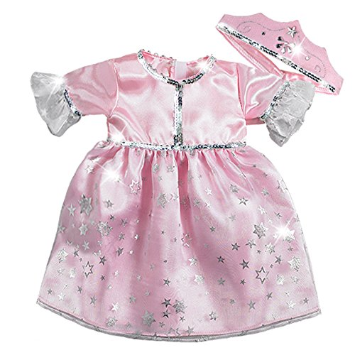 [15 Inch Baby Doll Princess Costume Set by Sophia's, Fits American Girl Bitty Baby Dolls & More! 15 Inch Doll Clothes Pink Princess Dress and] (Princess Costumes For Babies)