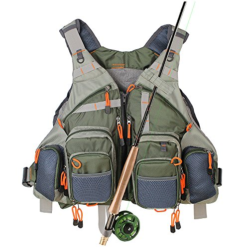 Kylebooker Fly Fishing Vest Multifunction Breathable Backpack Adjustable Size for Men and Women-Army Green (Best Fly Fishing Vest)