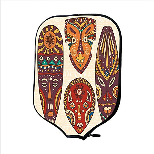 (Neoprene Pickleball Paddle Racket Cover Case,Tiki Bar Decor,Decorative Mask Designs African Aborigine Art Patterns Cultural Ethnic Print Decorative,Multicolor,Fit For Most Rackets - Protect Your Paddl)