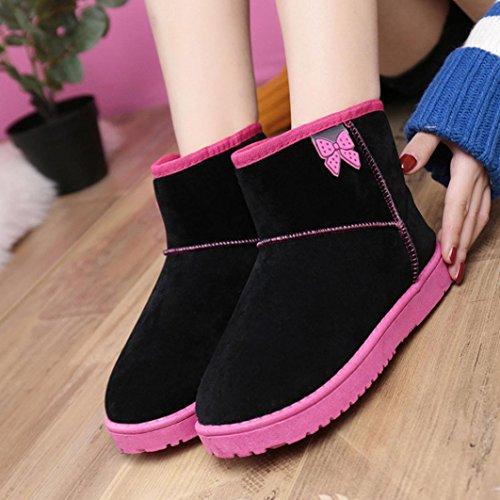Botas Mujer,Ouneed ® Moda botas de tobillo para la piel de las mujeres alineadas botas de nieve caliente Negro