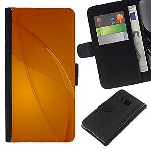[Neutron-Star] Modelo colorido cuero de la carpeta del tirón del caso cubierta piel Holster Funda protecció Para HTC One M7 [Beige Amarillo Líneas abstractas]