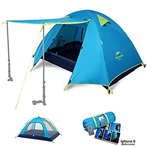Naturehike 2 3 4 Person 3 Season Backpacking Tents for Camping, Ultralight Waterproof Vestibule Awning Two Doors Double Layer with Aluminum Rods for Family Beach Hunting Hiking (Azure, 2 Person)