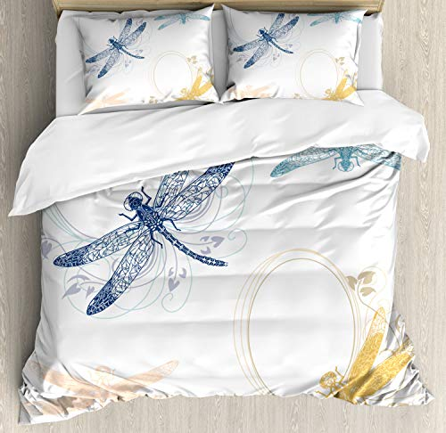 Ambesonne Dragonfly Duvet Cover Set Queen Size, Floral Spring Bugs Wings with Flower Petals Animal Nature Elegance Artful Motif, Decorative 3 Piece Bedding Set with 2 Pillow Shams, Multicolor ()