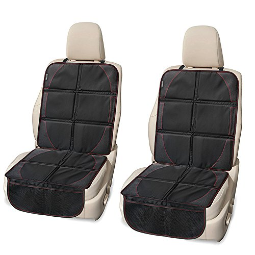 Car Seat Protector 2 Pack, HIPPIH Waterproof Seat Protector with Thickest Padding for Baby Car Black