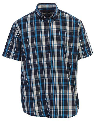 Gioberti Men's Plaid Short Sleeve Shirt, Turquoise/Navy/White, 4X Large (4x Shirts Dress Mens)