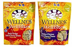 Wellness WellBites Soft & Chewy Treats For Good Dogs 2 Flavor Variety Bundle: (1) Wellness WellBites Beef & Turkey Recipe Soft & Chewy Treats, and (1) Wellness WellBites Chicken & Venison Soft & Chewy Treats, 8 Oz. Ea. (2 Bags Total)