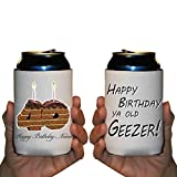 Custom 40th Birthday Can Cooler Sleeves- Happy Birthday Ya Old Geezer- Pack 12-16oz Can/Bottles Great For Over The Hill Parties (96)