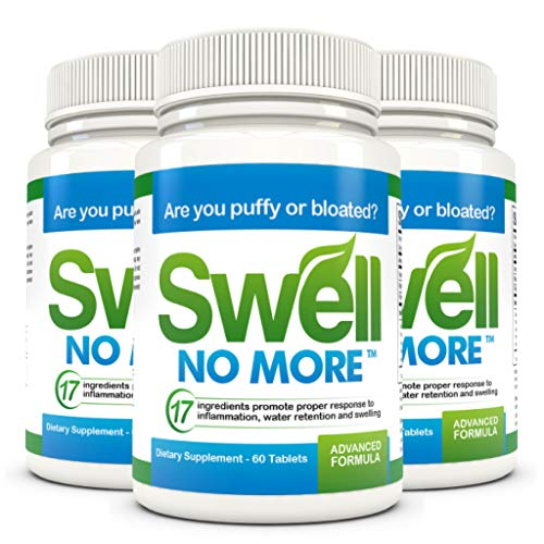 SwellNoMore Pill Reduces Puffy Eyes Bloating Swollen Feet & Swollen Ankles 180 Tablets (Best Remedy For Swollen Feet)