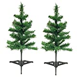 2 Artificial Christmas Tree Holiday Tabletop Desk Countertop Home Office Reception Desk School Shop Store Kids Room, Dorm - With Detachable Base Total Length 18''