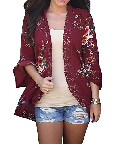 - Basic Faith Women's S-3XL Floral Print Kimono Tops Cover Up Cardigans Burgundy M