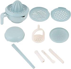 9pcs Baby Food Maker Set, Manual Food Grinding Bowl for Baby Feeding(blue)