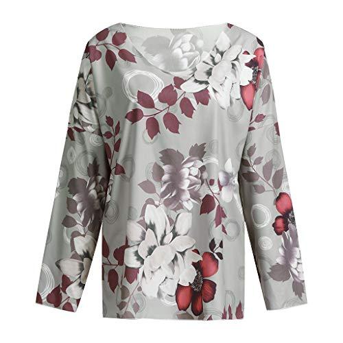 Blouse Women Print Plus Size Tops Casual O-Neck Long Sleeve Shirt