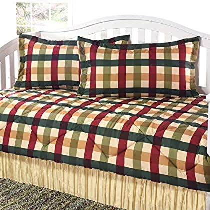 Image of Home and Kitchen Checkers Red Gold Daybed Set Red Check Modern Contemporary Microfiber Bedskirt Included Made in USA