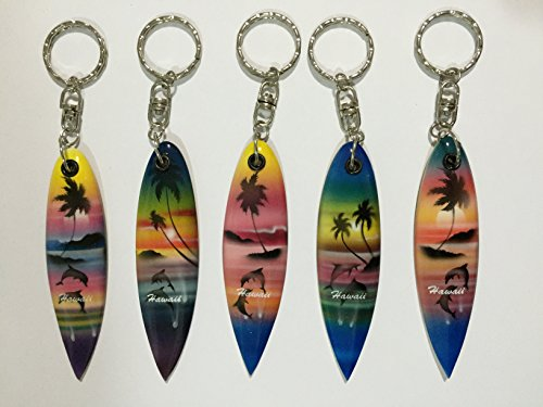 Wooden Surfboard Key Chain Hawaii Design, Set of 5
