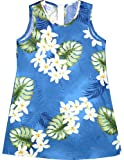 Plumeria Monstera Girl's A Line Hawaiian Aloha Short Tank Dress