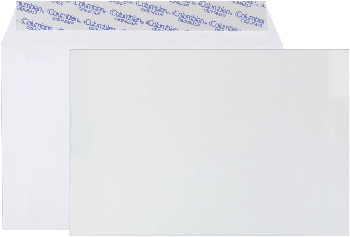 Columbian CO330 6x9-Inch Booklet Grip-Seal White Envelopes, 250 Count : Office Products