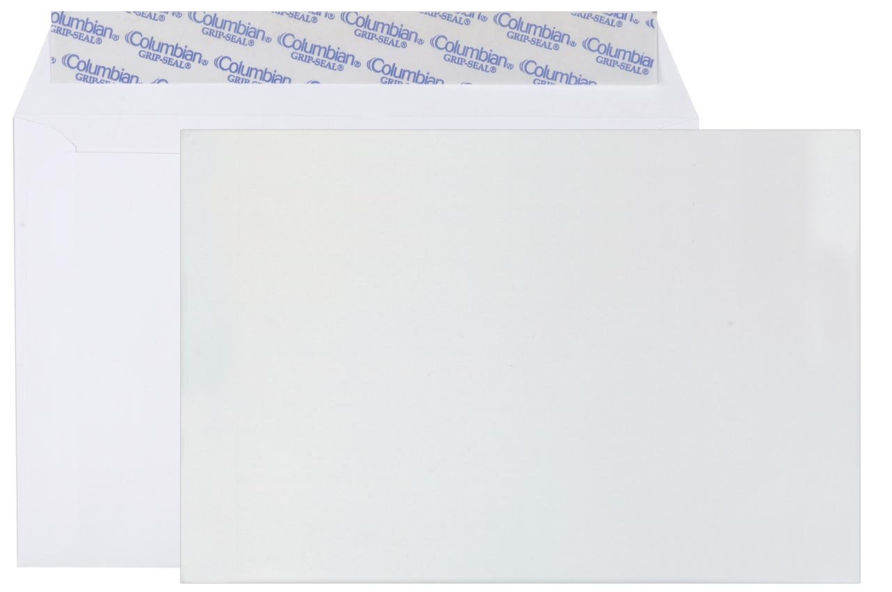 Columbian CO330 6x9-Inch Booklet Grip-Seal White Envelopes, 250 Count