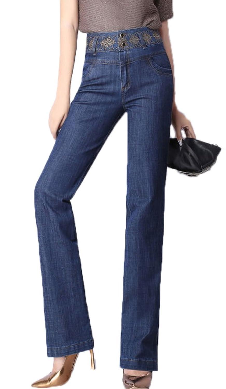 Zukzi Women's Embroidery Waistline Slight Bootcut Jeans