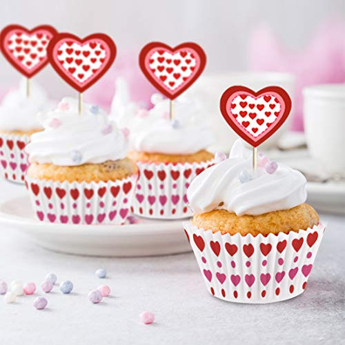 Heart Cupcakes Wrappers and Toppers