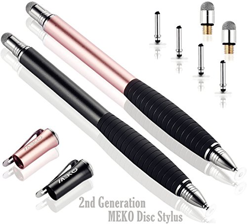 MEKO 2nd Generation [2 in 1 Precision Series] Disc Stylus Pen For iPhone X/8/8plus/7 iPad 4/iPad mini and All Capacitive Touch Screens Bundle with 6 Replacement Tips,Pack of 2 (Black/Rose Gold)