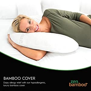 Zen Bamboo Full Body Pregnancy Pillow - Maternity & Nursing Support Cushion & Body Pillow with Ultra-Soft, Washable Rayon from Bamboo Blend Cover