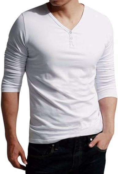 Hombres De Cuello Alto con Cuello Larga V Manga En Sólido Botón De Años 20 Manga Larga Ocasional Tops Blusa T Shirt Camisa De Invierno Camisa Autum: Amazon.es: Ropa y accesorios