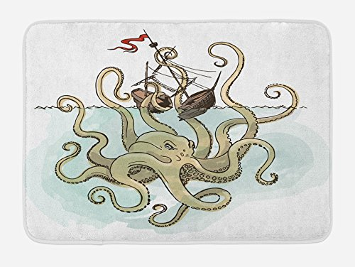 Ambesonne Kraken Bath Mat, Octopus Sinking The Pirate Ships Greek Myth Fish Culture Cartoon Artwork Image, Plush Bathroom Decor Mat with Non Slip Backing, 29.5 W X 17.5 L Inches, Tan Pale Green ()