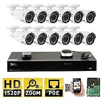 GW 16 Channel H.265 NVR 4MP (2592 x 1520) Power Over Ethernet IP Camera System, 12pcs 4MP 1520p 2.8-12mm Varifocal Zoom POE Weatherproof Bullet Security Cameras, 130ft Night Vision
