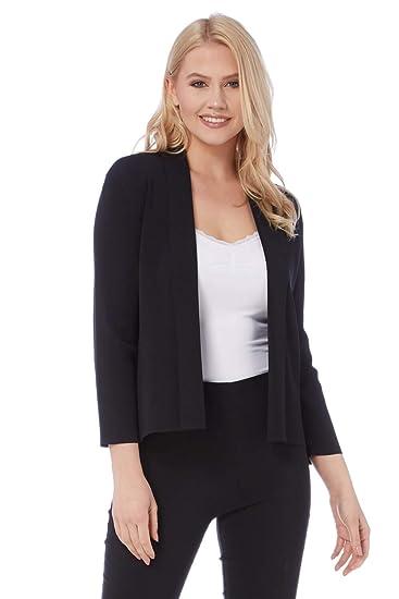 f4136953f9eff Roman Originals - Cardigan Uni Simple Léger - Femme - Noir - Taille 38