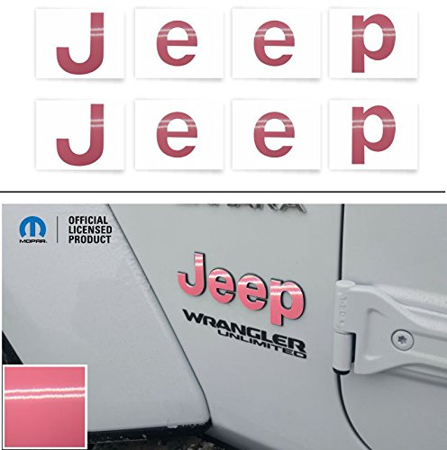 Reflective Concepts JEEP Fender Emblem Overlay Decal Stickers – 2018 2019 2020 Wrangler JL – (Color: Pink)