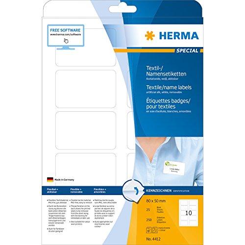 Herma 4412 Namensetiketten (A4 trennbar ablösbar Acetatseide, 80 x 50 mm) 250 Stück weiß