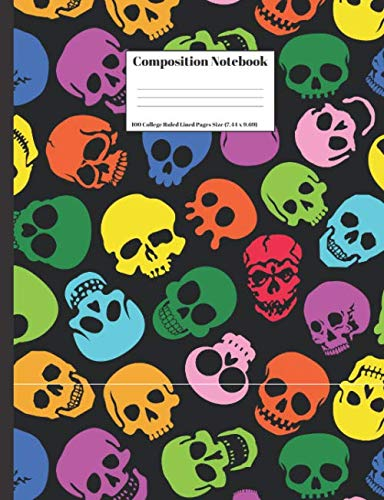 Composition Notebook: Colorful Human Skulls Design Cover 100