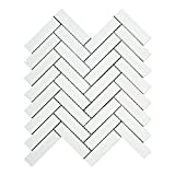 Thassos White Greek Marble 1 X 4 Herringbone Mosaic Tile, Polished