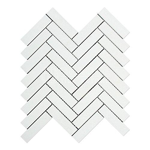 Thassos White Greek Marble 1 X 4 Herringbone Mosaic Tile, Honed -