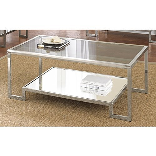 Mirrored Modern Design Cordele Chrome and Glass Coffee Table by Greyson Living